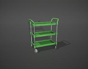 Three Tier Green Service Cart 3D model