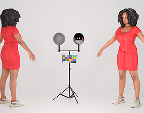 3D asset Attractive african-american woman in casual 3