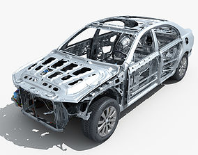 Car Frame with Chassis Engine 02 3D model