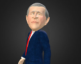 George W Bush caricature real time low poly 3D model