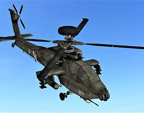 3D asset FLY Game-Ready Apache rigged Helicopter