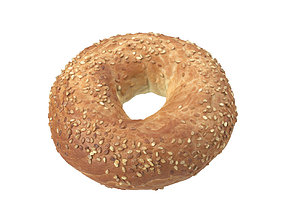 Photorealistic Sesame Seed Bagel 3D Scan store