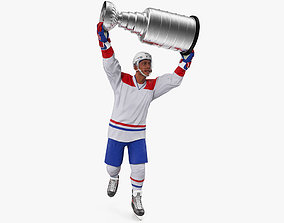 3D model Hockey Player with Stanley Cup Trophy Rigged