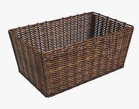 3D model Wicker basket rectangular 02 dark brown
