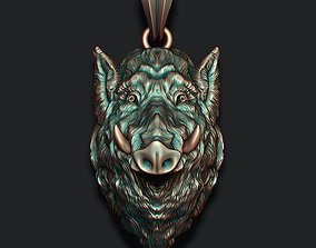 hunt 3D printable model Wild boar pendant