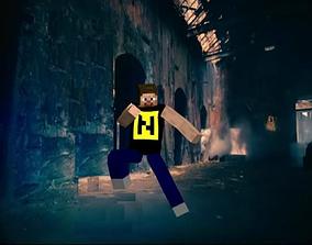 animated Minecraft dance 3d model