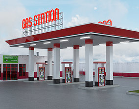 3D model GAS STATION WITH INTERIOR AND PROPERTY
