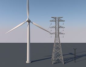 Wind turbine 3D asset low-poly