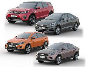 Set of cars for parking 3D asset