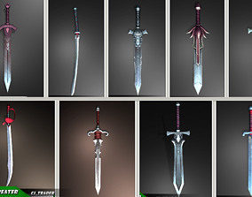 Fantasy Sword Collection Pack Low-Poly 3D Model