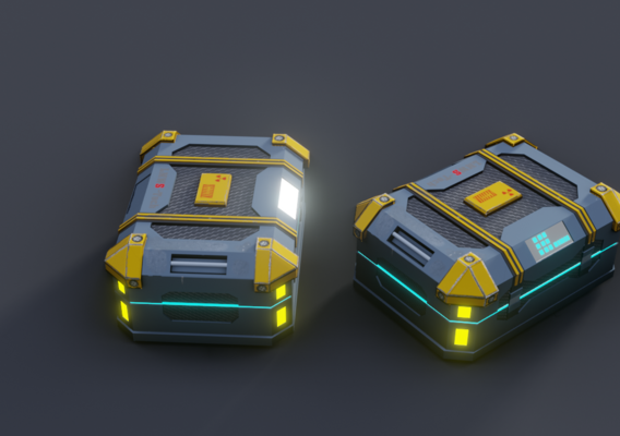 Low Poly Sci-fi Crate PBR texture Game ready