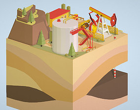 3D model Isometric oil field extracting crude oil