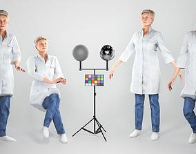 Animated medical doctor female walking sitting 3D model 2