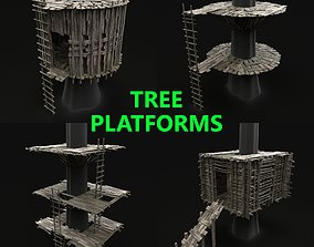 3D TREE PLATFORM WOODEN HOUSE HUT BRIDGE COLLECTION PACK 1