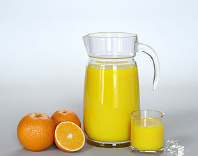 fruits 3D model Carafe with juice glass and oranges