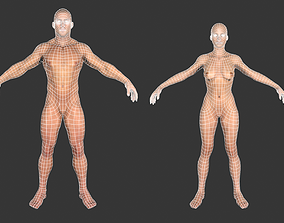 Low poly Base meshes Male and Female 3D asset