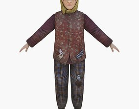 3D model animated Homeless Woman