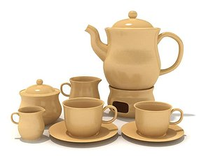 Ceramic Service Tea Set 3D model