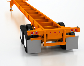 3D model 53ft Light weight Gooseneck Chassis
