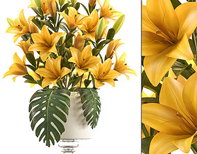 3D bouquet of yellow lilies