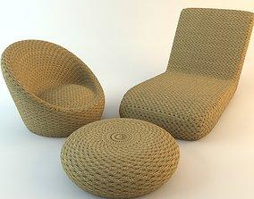 3D Wicker Chairs Ottoman