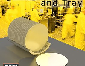 Silicon Wafers and Tray 3D asset