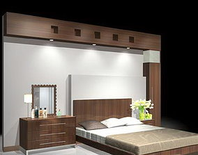 3D model bed-room Bed With Back wall