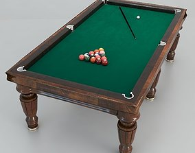 Billiard table with equipment 3D model