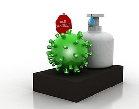 3D asset Coronavirus awareness and protection