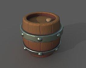 Stylized Barrel 3D model realtime