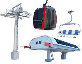 3D model Cableway Car Lift