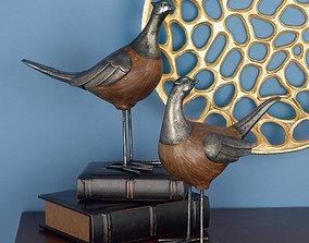 3D asset Doughty Polystone Metal Pheasant Figurine Set