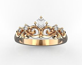 3D print model Crown ring with diamonds
