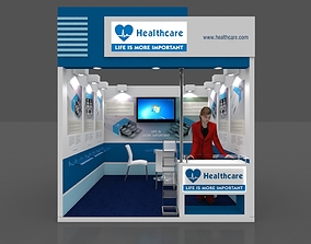 Exhibition stall 3d model 3x3 mtr 1 side open booth