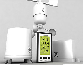 3D model Weather meteo station wireless set pack low poly