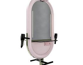hairdresser table mirror pink green gold 3D