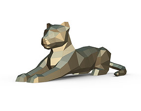 leopard figure low poly 3D printable model