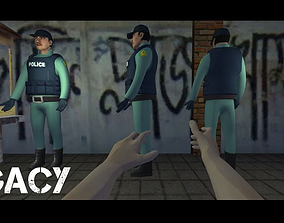 Low Poly Police Officer - IK Rigged 3D asset