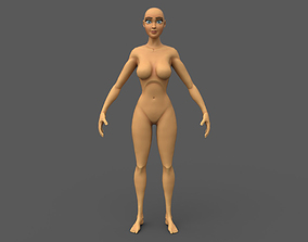Stylized Female Base Mesh Low Poly 3D asset