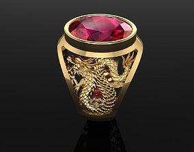 3D print model Dragon ruby men ring signet