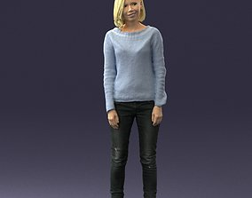 Blonde in blue sweater 0507 3D Print Ready