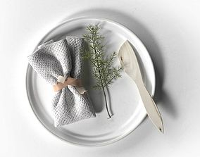 Plate with Napkin Rosemary and Wooden Knife 3D model