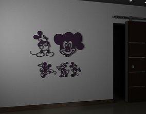 3D model room Mickey Mouse silhouette