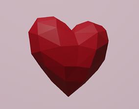 3D asset Simple low poly heart