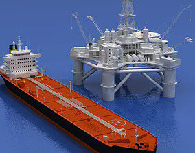 Oil platform with tankership 3D