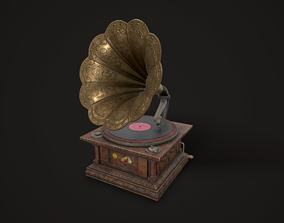 Old Gramophone 3D asset game-ready