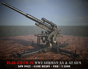 Flak 88 - WW 2 German AA and AT gun - Game 3D asset 3