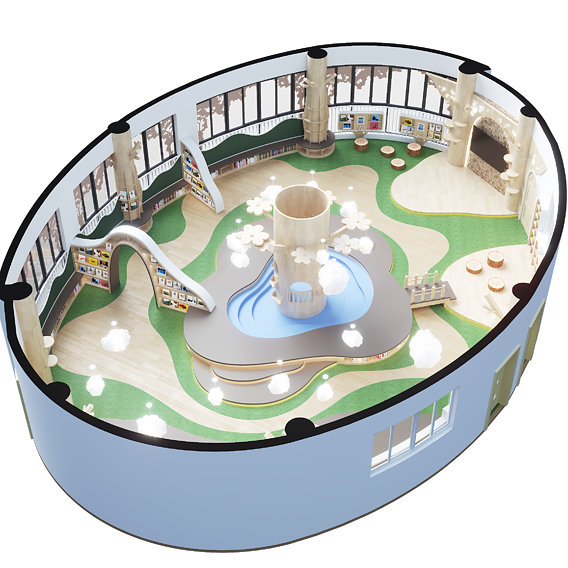 Childrenundefineds activity Room Reading Space Kindergarten classroom Forest theme Space classroom Design Space layout Recreation Space complete Indoor scene-corona1.7