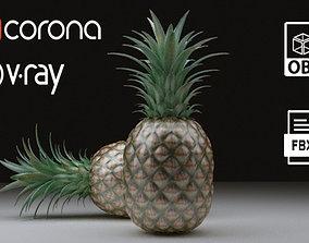 Pineapple 3D model halves