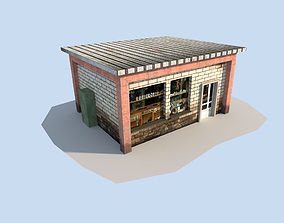 3D model low poly town shop